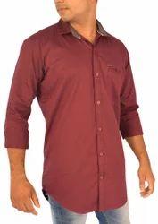 Cotton/Linen Men's Plain Shirt - Maroon Color