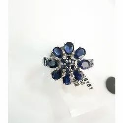 Blue Oval Sapphire Ring