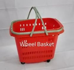 Four Wheel Plastic Shopping Basket