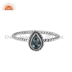 Pear Shape Oxidized 925 Silver Blue Topaz Gemstone Rings