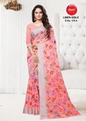 Apple Saree Linen Gold Color Matching Beautiful Designs Collection