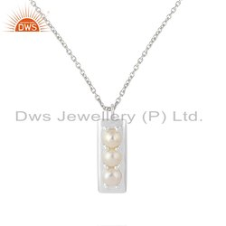 Seed Pearl Gemstone Designer Sterling Silver Chain Pendant Necklace