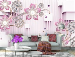 999store Printed Pink Flowers And White Leaves Wallpaper