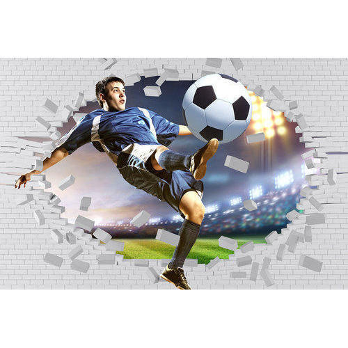 Paper With Plastic Coated Printed 3D Football Wallpaper