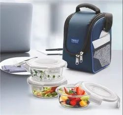 Treo by Milton Glass Tiffin Box with Cover, Set of 3, Transparent Glass