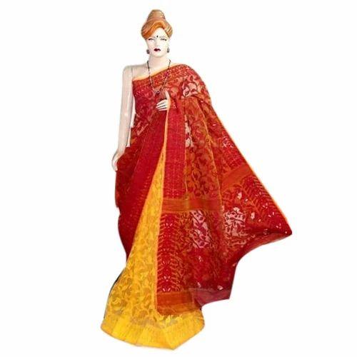 2e46f5f573a167 Swarupini Silk Maroon And Yellow Half Jamdani Saree, Rs 3300 /piece ...