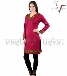 Ladies Casual Wear  Woolen Kurti - Pink Colour