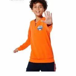 Cotton Plain Kids Full Sleeves Sweat T-Shirt, Size: Small
