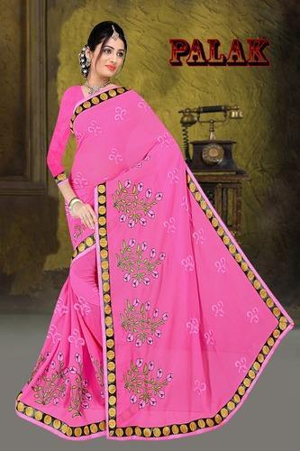 3db6be312f Pink Embroidered Fancy Georgette Saree With Blouse Piece, Length: 6 ...