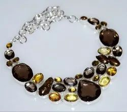 Smokey Quartz 92.5 Sterling Silver Necklaces