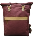 Mon Exports Waxed Canvas & Genuine Leather Backpack