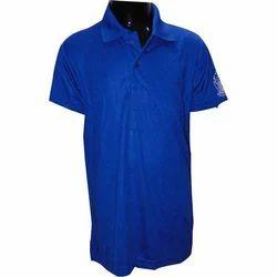 Blue Cotton Mens Polo Neck T-Shirt