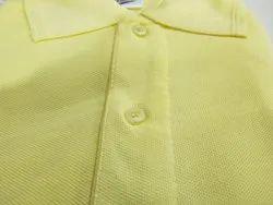 Cotton Plain Lemon Yellow Collar T-Shirt, Size: XL