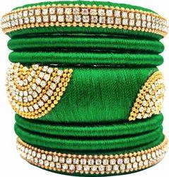 Green Silk Thread Bangle Set