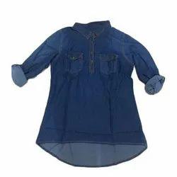 Full Sleeves Cotton Ladies Denim Shirt