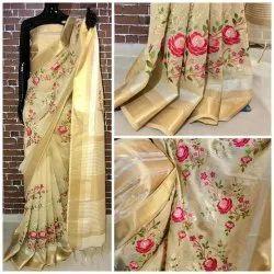 Silk lenin Designer Saree, Machine Made, 6.3 m (with blouse piece)