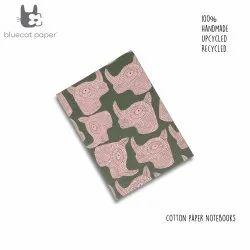 Unique Handmade Olive Green Hardbound Notebook With Peach Rhino Print.