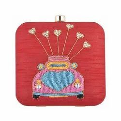 Azzra Cycle Design Red Zardosi Work Clutch