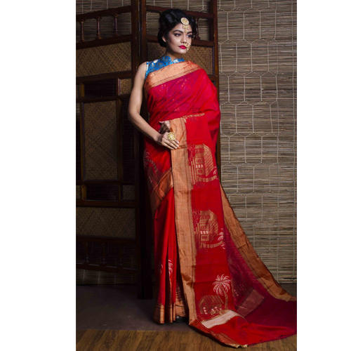 Chanderi Cotton Banarasi Saree in Red and Gold