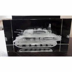 3D Tank Crystal Engraved