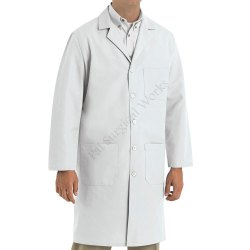 Men Polyester Lab Coat White
