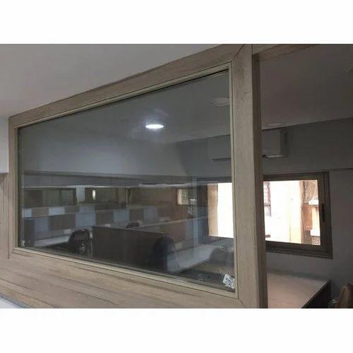 Office Wooden Plain Glass Partition वडन ऑफस