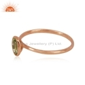Natural Peridot Gemstone Rose Gold Plated Womens Silver Ring Jewelry