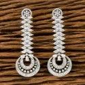 White Rhodium Plated Cz Classic Earring 405621