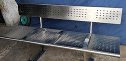Stainless Steel 4 Seater Bench with Back Rest