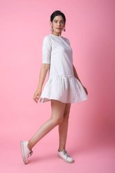 Cotton Plain White Short Dress