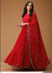 Red Party Wear New Beautiful Georgette Embroidered Suit With Dupatta