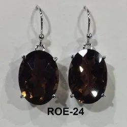Hanging Rodium Polish 925 Silver Smoky Quartz Earring