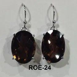 Hanging Rodium Polish 925 Silver Smoky Quartz Earring
