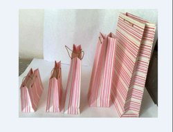 Strip print handmade paper bag