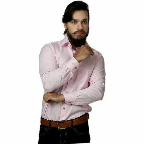 72dd30e81de2ba Men Cotton Full Sleeves Plain Pink Formal Shirt, Size: 40-44, Rs 300 ...