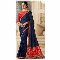 Plain Designer Blue Art Silk Saree, 6 m (with blouse piece), Packaging Type: Plastic Bag