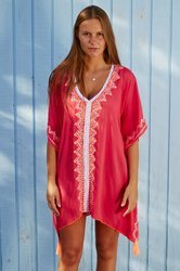 v-neck short beachwear kaftan