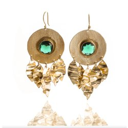 Golden Brass Green Stone Dangler