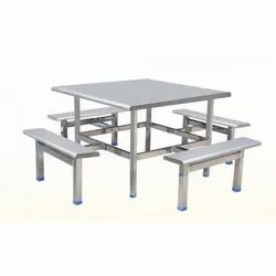 Silver Rectangular Stainless Steel Dining Table Set