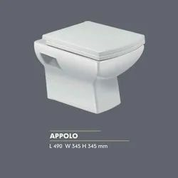Ceramic Appolo Wall Mounted Commode, For Bathroom, Size: 490 X 345 X 345 Mm