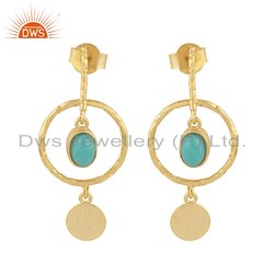 Gold Plated 925 Silver Arizona Turquoise Earrings
