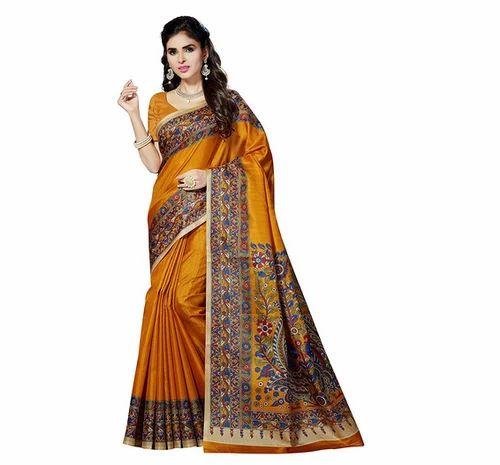 f954b29f05 Rani Saahiba Mustard Printed Art Bhagalpuri Silk Saree, Rs 499 ...