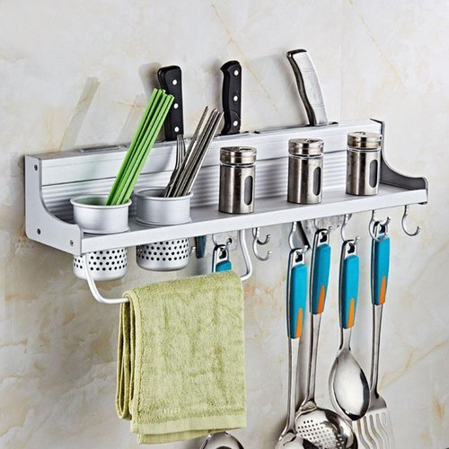 Kawachi Kitchen Aluminum Organizer With Knife Holder 2 Utensil Cup Spice Rack