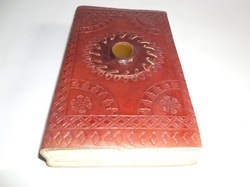 Embossed Leather Binding Journal with Brown Stone