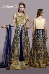 Golden And Blue Anarkali Suit For Ladies