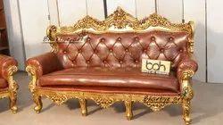 Bhartiye Art Wooden Carving Sofa Antique Gold 021