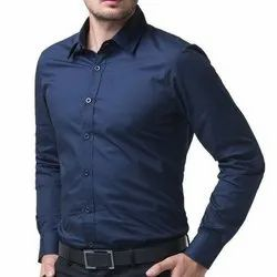 Collar Neck Full Sleeves Mens Blue Cotton Formal Shirt, Machine And Hand Wash
