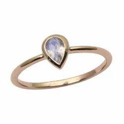 9ct Yellow Gold Pear Rainbow Moonstone Bezel Set Solitaire Women Love Ring