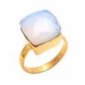 Aqua Chalcedony Fancy Cushion Hot Shape Forever Gold Plated Gemstones Rings
