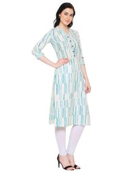 Yash Gallery Women Cotton Slub Printed Straight Kurti